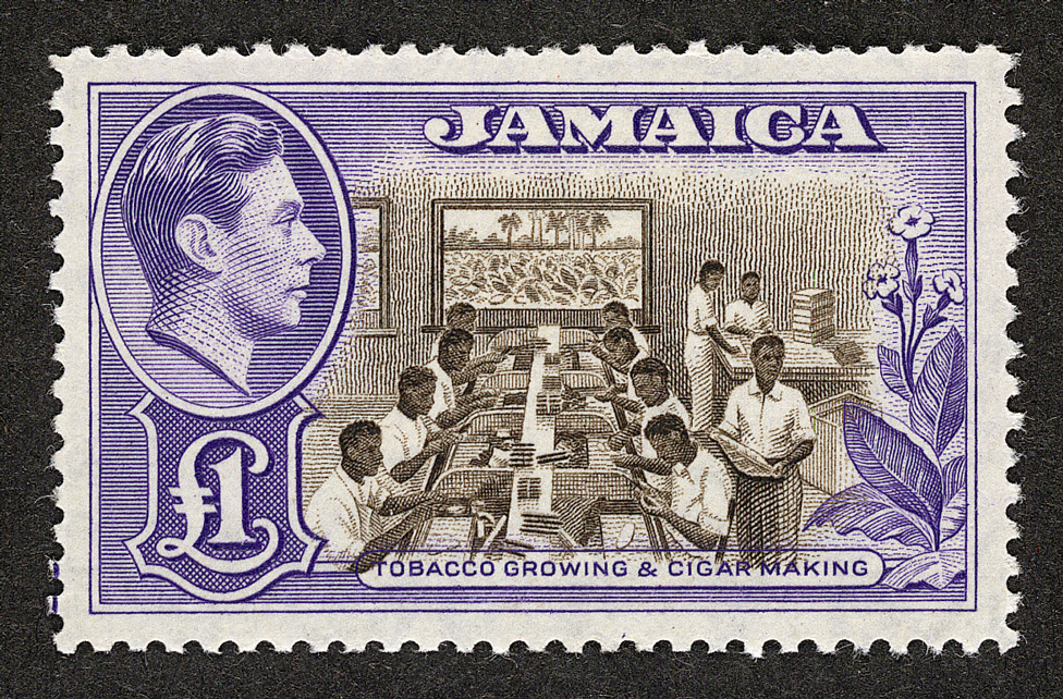 Jamaica: 1938-52 £1 chocolate and violet, unused.